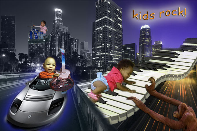 Composite project with my kids. Son driving car with guitar.  Daughter playing piano with chimp and playing drums on building