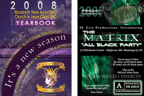Sample of Yearbook cover and club flyer designed by Stephanie